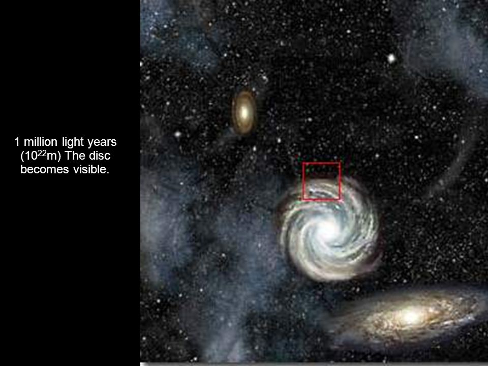100.000 light years (10 21 m) You can barely see our galaxy.