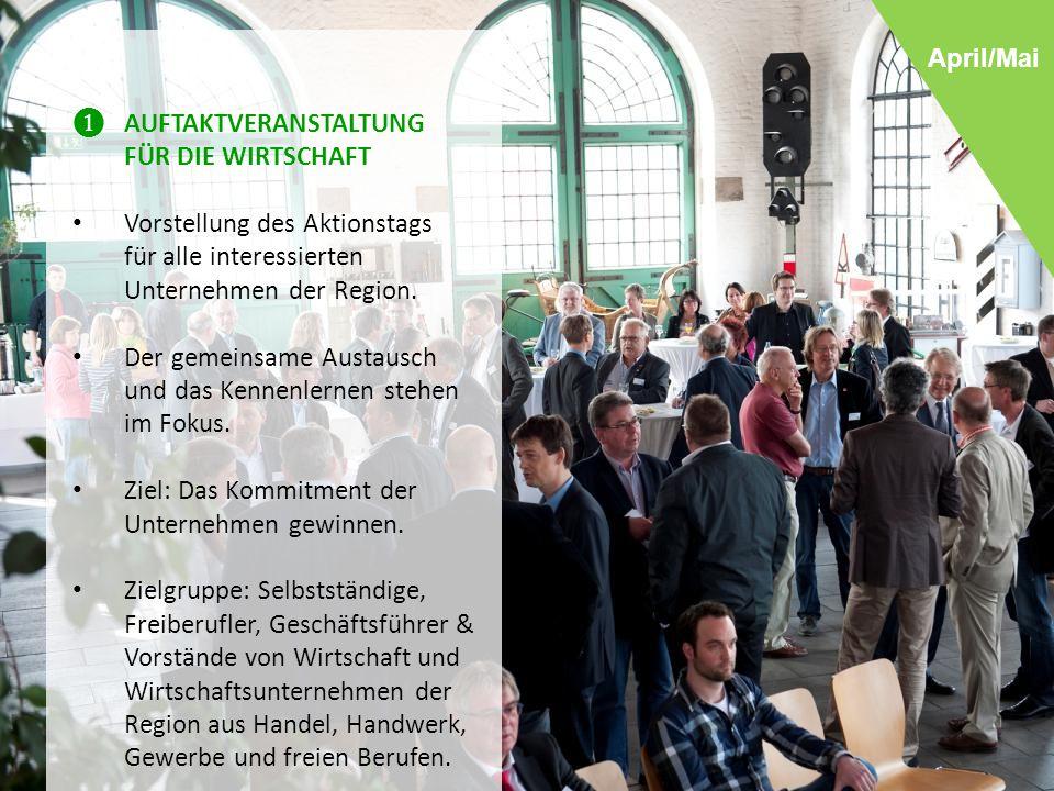 ❶ AUFTAKTVERANSTALTUNG FÜR DIE WIRTSCHAFT Vorstellung des Aktionstags für alle interessierten Unternehmen der Region.