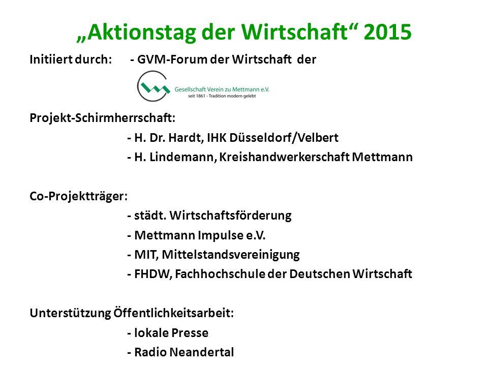 """""""Aktionstag der Wirtschaft 2015 Initiiert durch: - GVM-Forum der Wirtschaft der Projekt-Schirmherrschaft: - H."""