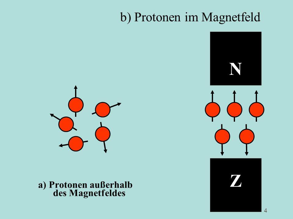 4 a) Protonen außerhalb des Magnetfeldes N Z b) Protonen im Magnetfeld