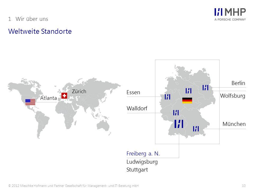 © 2012 Mieschke Hofmann und Partner Gesellschaft für Management- und IT-Beratung mbH10 Weltweite Standorte 1Wir über uns Atlanta Zürich Wolfsburg München Freiberg a.