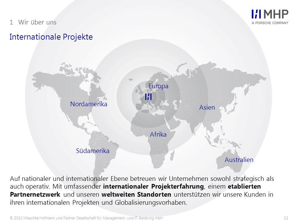© 2012 Mieschke Hofmann und Partner Gesellschaft für Management- und IT-Beratung mbH11 Internationale Projekte 1Wir über uns Auf nationaler und internationaler Ebene betreuen wir Unternehmen sowohl strategisch als auch operativ.