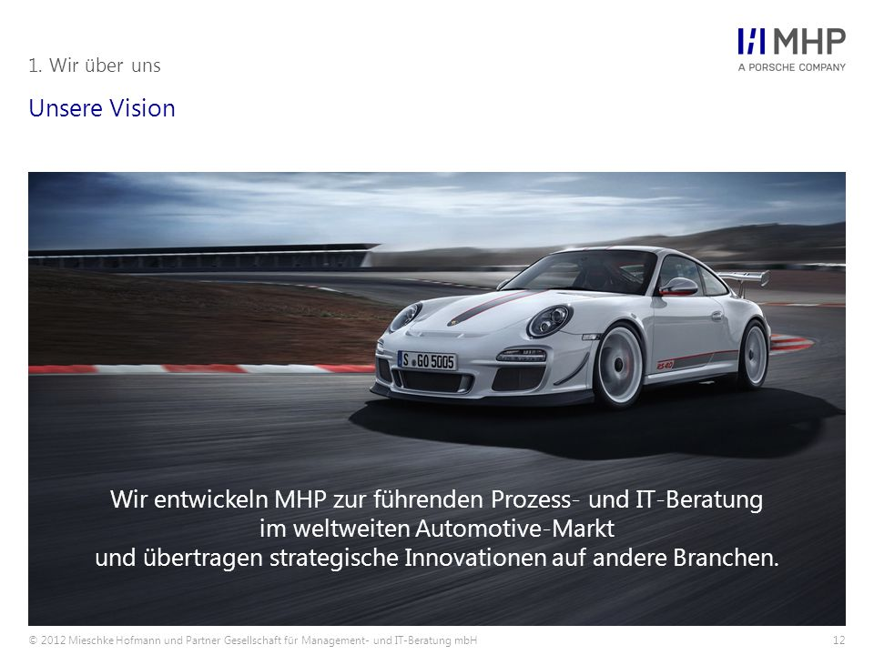 © 2012 Mieschke Hofmann und Partner Gesellschaft für Management- und IT-Beratung mbH12 Unsere Vision 1. Wir über uns Wir entwickeln MHP zur führenden