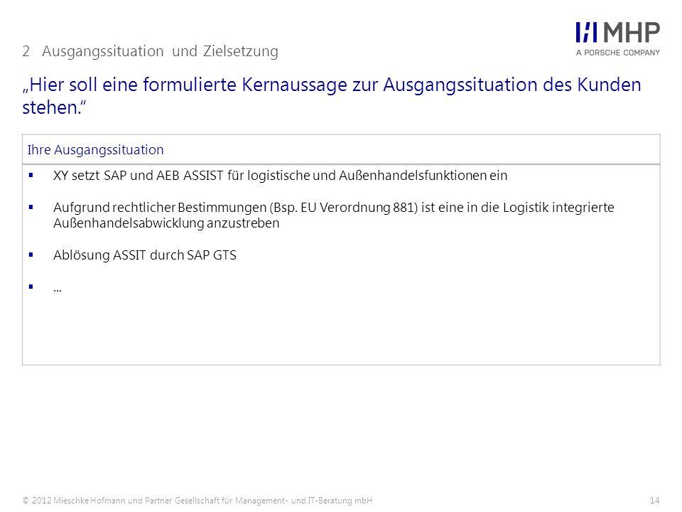 """© 2012 Mieschke Hofmann und Partner Gesellschaft für Management- und IT-Beratung mbH14 """"Hier soll eine formulierte Kernaussage zur Ausgangssituation d"""