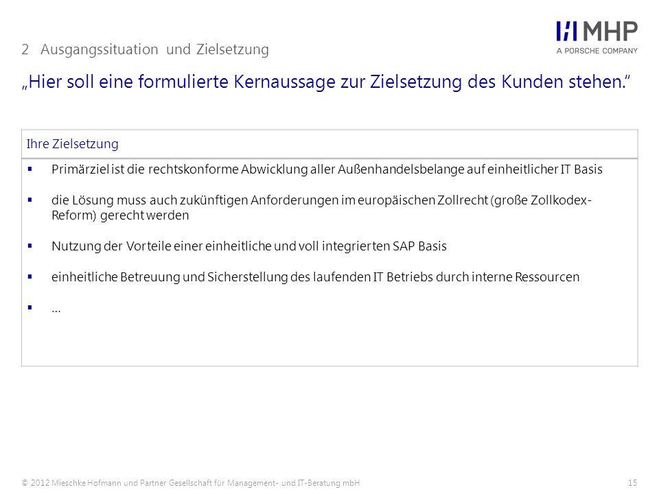 """© 2012 Mieschke Hofmann und Partner Gesellschaft für Management- und IT-Beratung mbH15 """"Hier soll eine formulierte Kernaussage zur Zielsetzung des Kunden stehen. 2Ausgangssituation und Zielsetzung Ihre Zielsetzung  Primärziel ist die rechtskonforme Abwicklung aller Außenhandelsbelange auf einheitlicher IT Basis  die Lösung muss auch zukünftigen Anforderungen im europäischen Zollrecht (große Zollkodex- Reform) gerecht werden  Nutzung der Vorteile einer einheitliche und voll integrierten SAP Basis  einheitliche Betreuung und Sicherstellung des laufenden IT Betriebs durch interne Ressourcen  …"""