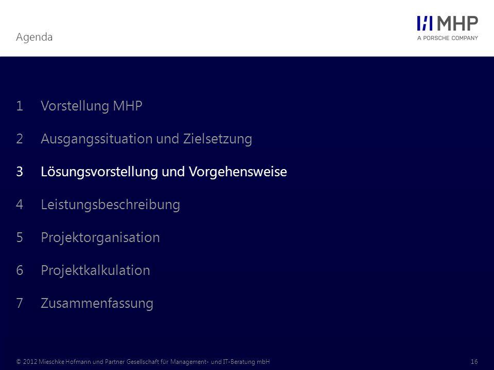 Agenda © 2012 Mieschke Hofmann und Partner Gesellschaft für Management- und IT-Beratung mbH16 1Vorstellung MHP 2Ausgangssituation und Zielsetzung 3Lösungsvorstellung und Vorgehensweise 4Leistungsbeschreibung 5Projektorganisation 6Projektkalkulation 7Zusammenfassung