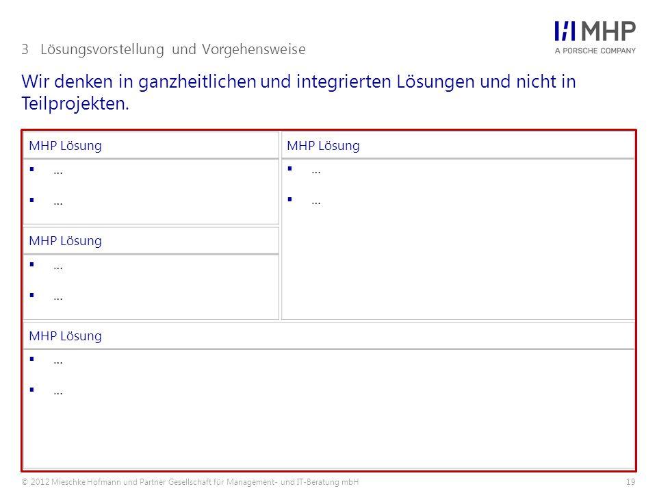 © 2012 Mieschke Hofmann und Partner Gesellschaft für Management- und IT-Beratung mbH19 Wir denken in ganzheitlichen und integrierten Lösungen und nich