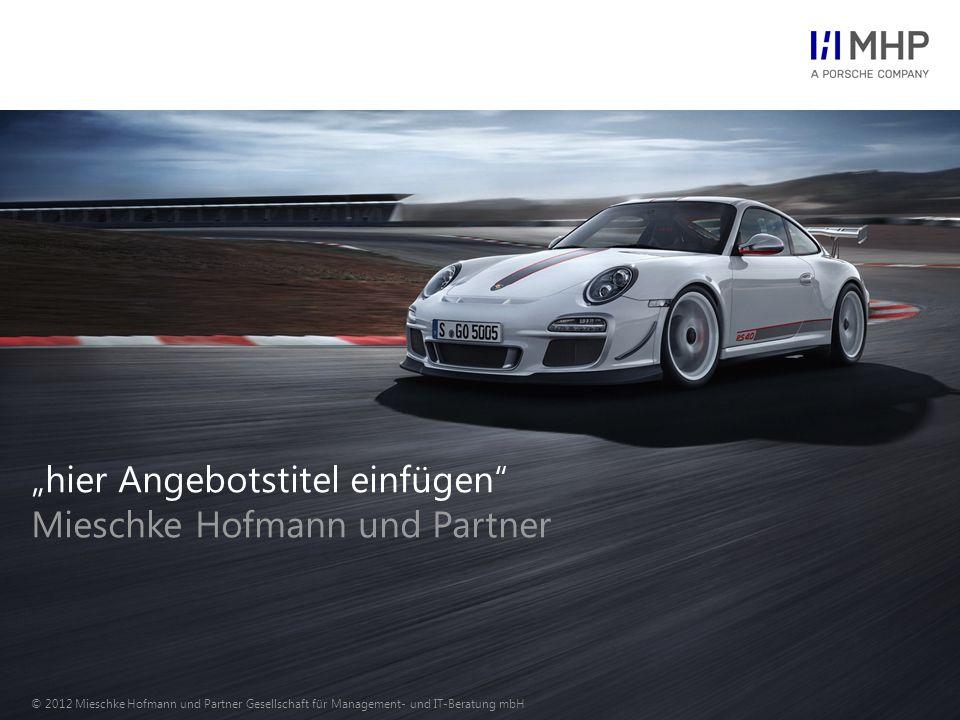 © 2012 Mieschke Hofmann und Partner Gesellschaft für Management- und IT-Beratung mbH23 Mit dem MHP Vorgehensmodell sichern wir unseren hohen Qualitätsanspruch über alle Projektphasen.