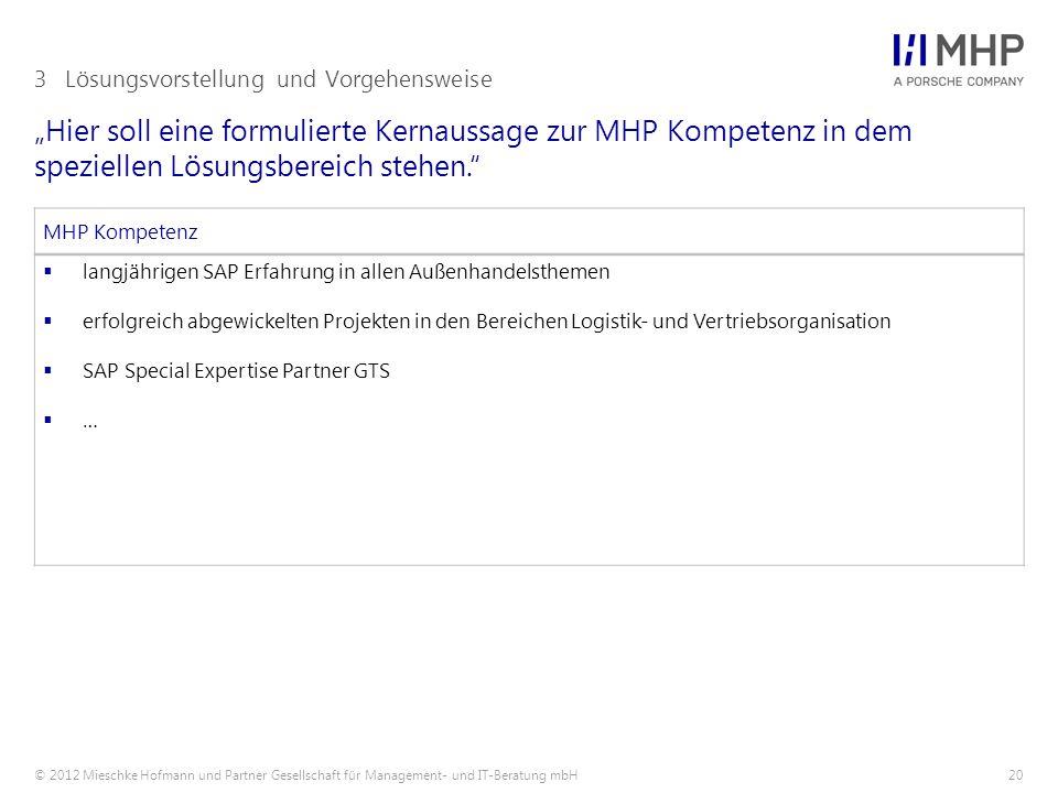 """© 2012 Mieschke Hofmann und Partner Gesellschaft für Management- und IT-Beratung mbH20 """"Hier soll eine formulierte Kernaussage zur MHP Kompetenz in dem speziellen Lösungsbereich stehen. 3Lösungsvorstellung und Vorgehensweise MHP Kompetenz  langjährigen SAP Erfahrung in allen Außenhandelsthemen  erfolgreich abgewickelten Projekten in den Bereichen Logistik- und Vertriebsorganisation  SAP Special Expertise Partner GTS  …"""