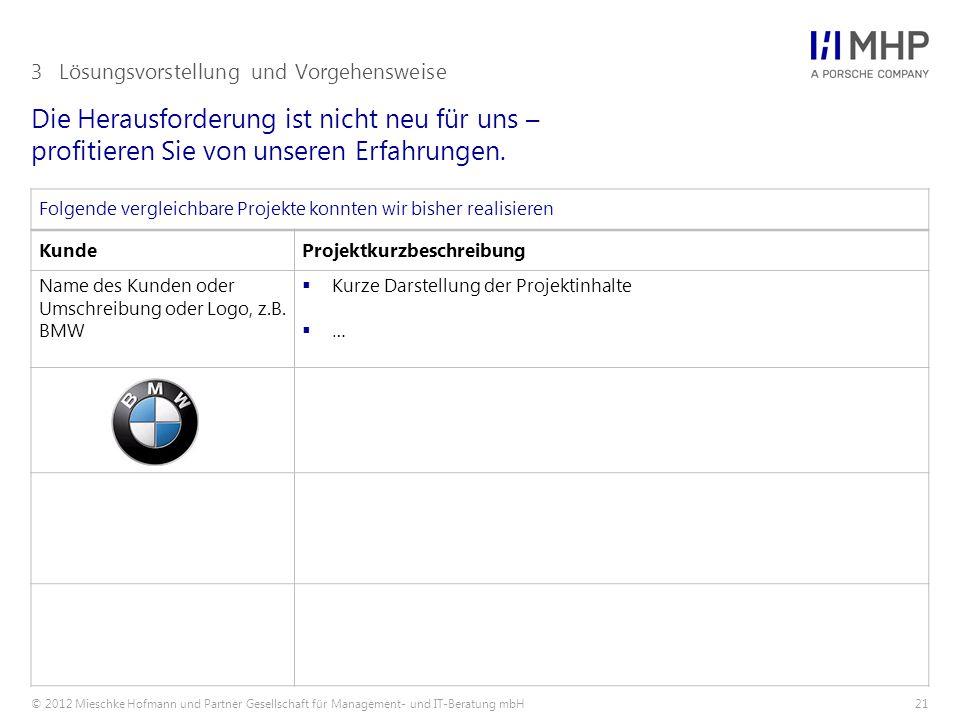 © 2012 Mieschke Hofmann und Partner Gesellschaft für Management- und IT-Beratung mbH21 Die Herausforderung ist nicht neu für uns – profitieren Sie von unseren Erfahrungen.