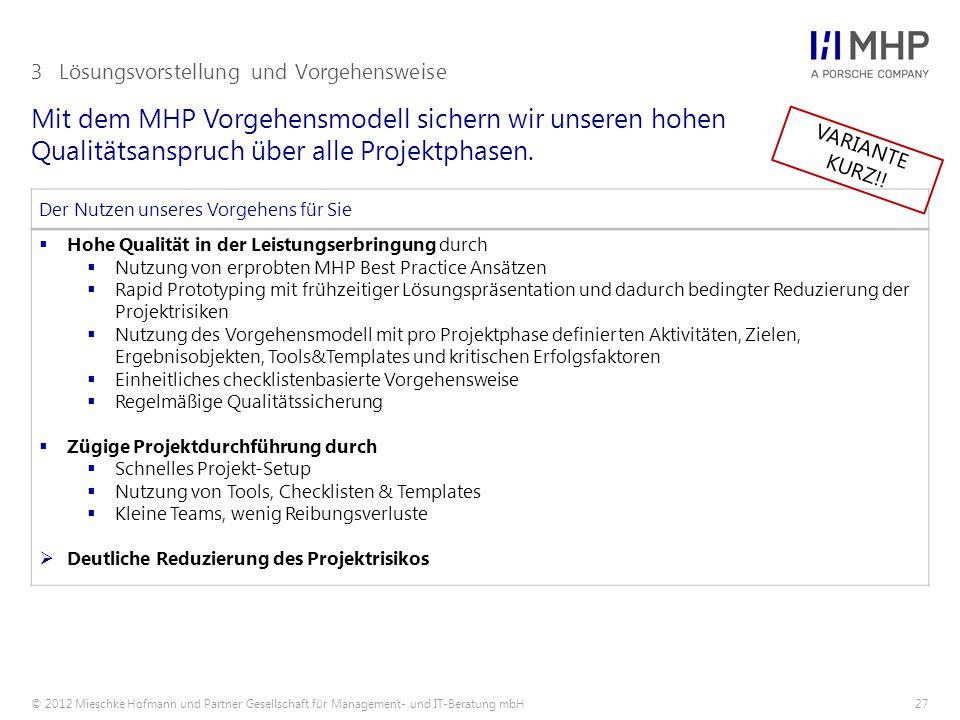 © 2012 Mieschke Hofmann und Partner Gesellschaft für Management- und IT-Beratung mbH27 Mit dem MHP Vorgehensmodell sichern wir unseren hohen Qualitäts