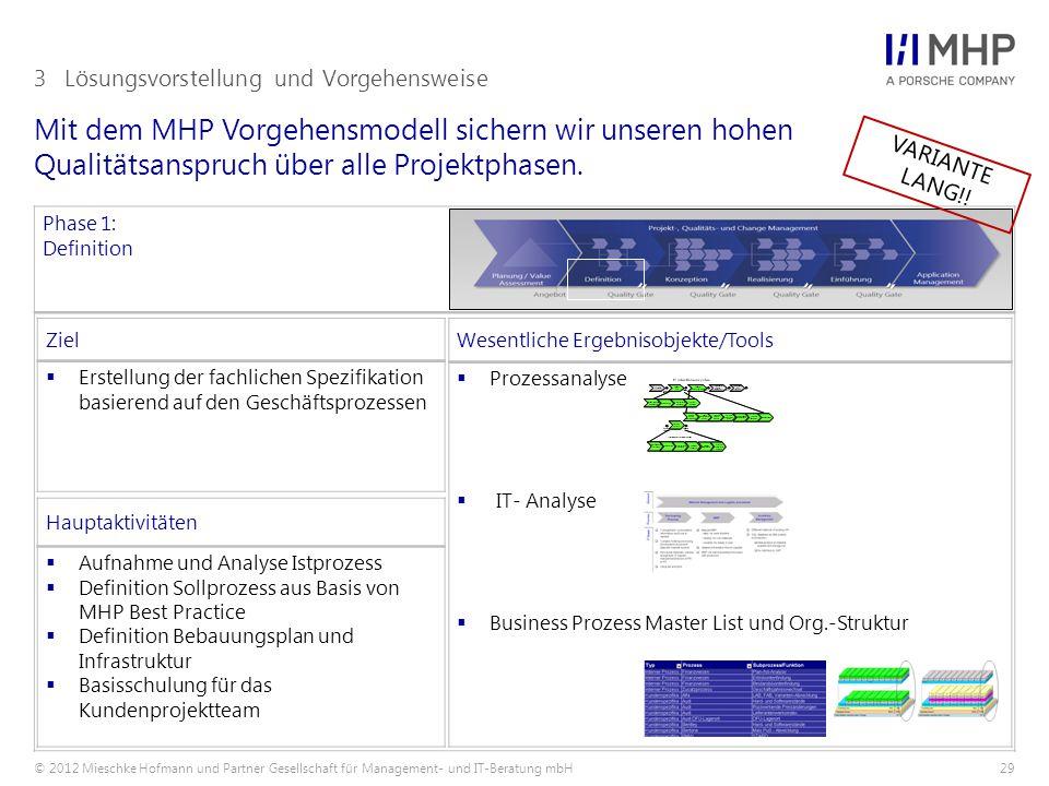 © 2012 Mieschke Hofmann und Partner Gesellschaft für Management- und IT-Beratung mbH29 Mit dem MHP Vorgehensmodell sichern wir unseren hohen Qualitätsanspruch über alle Projektphasen.