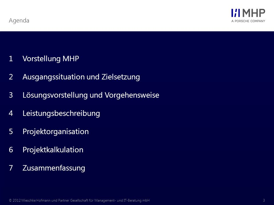 Agenda © 2012 Mieschke Hofmann und Partner Gesellschaft für Management- und IT-Beratung mbH3 1Vorstellung MHP 2Ausgangssituation und Zielsetzung 3Lösungsvorstellung und Vorgehensweise 4Leistungsbeschreibung 5Projektorganisation 6Projektkalkulation 7Zusammenfassung