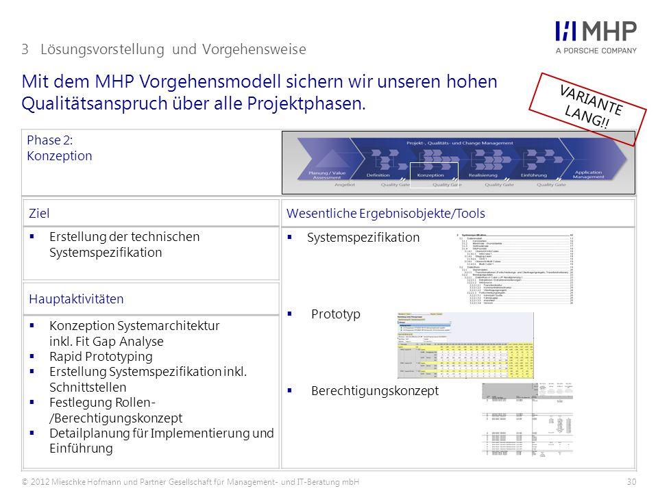© 2012 Mieschke Hofmann und Partner Gesellschaft für Management- und IT-Beratung mbH30 Mit dem MHP Vorgehensmodell sichern wir unseren hohen Qualitäts