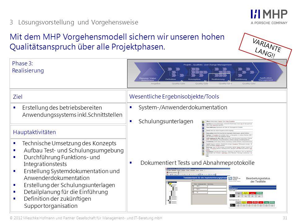© 2012 Mieschke Hofmann und Partner Gesellschaft für Management- und IT-Beratung mbH31 Mit dem MHP Vorgehensmodell sichern wir unseren hohen Qualitätsanspruch über alle Projektphasen.
