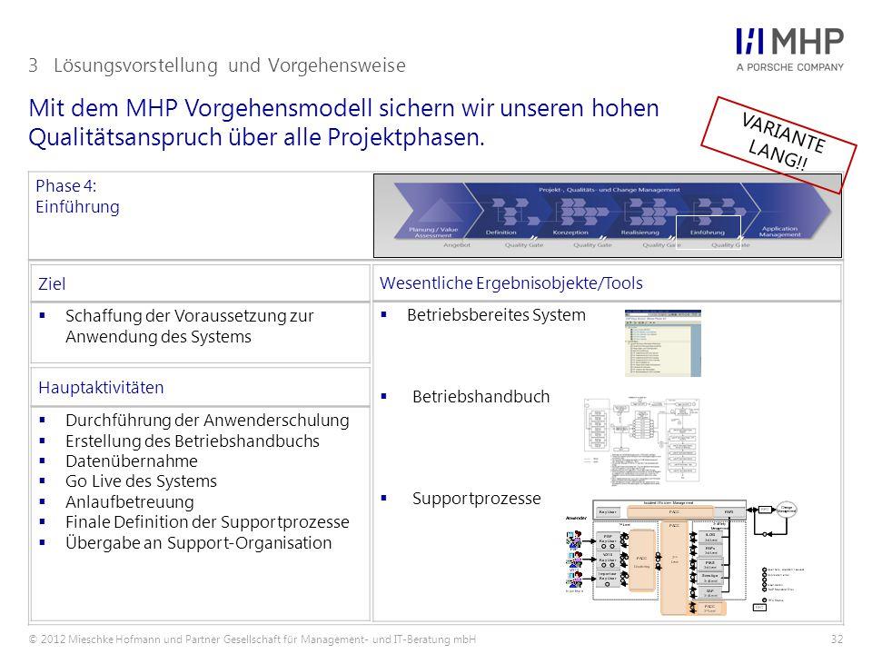 © 2012 Mieschke Hofmann und Partner Gesellschaft für Management- und IT-Beratung mbH32 Mit dem MHP Vorgehensmodell sichern wir unseren hohen Qualitäts