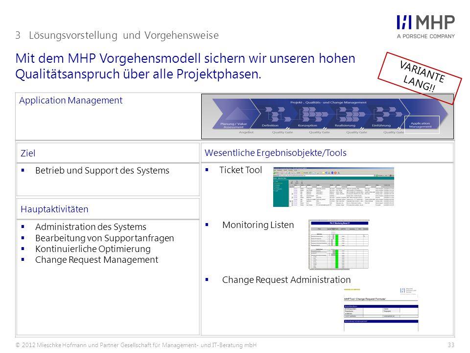 © 2012 Mieschke Hofmann und Partner Gesellschaft für Management- und IT-Beratung mbH33 Mit dem MHP Vorgehensmodell sichern wir unseren hohen Qualitätsanspruch über alle Projektphasen.