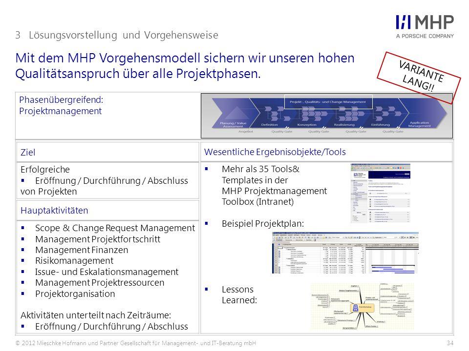 © 2012 Mieschke Hofmann und Partner Gesellschaft für Management- und IT-Beratung mbH34 Mit dem MHP Vorgehensmodell sichern wir unseren hohen Qualitätsanspruch über alle Projektphasen.