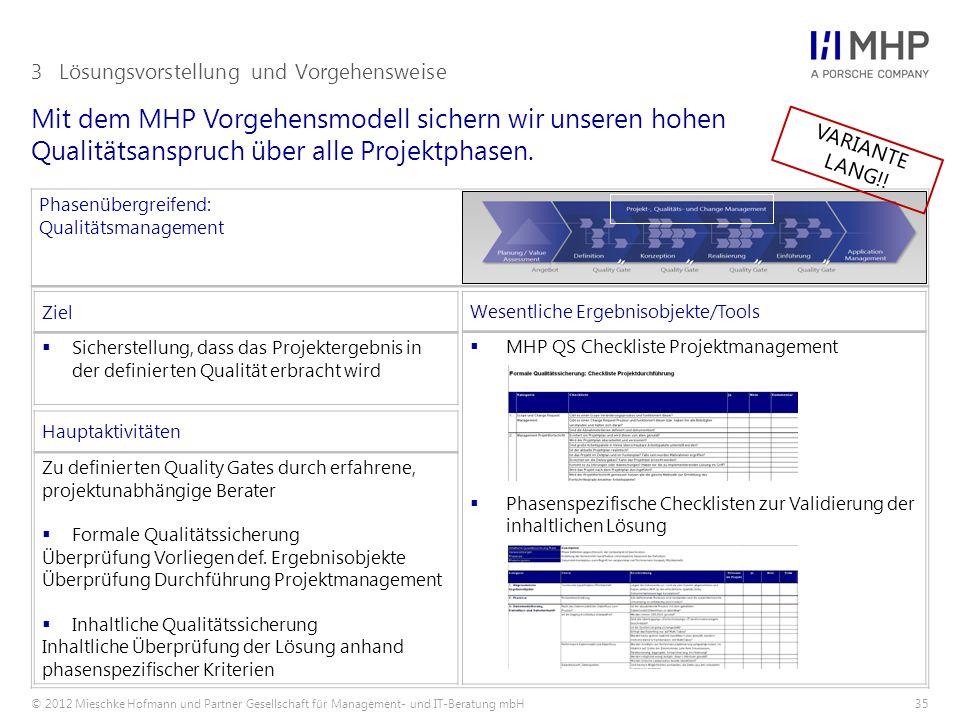 © 2012 Mieschke Hofmann und Partner Gesellschaft für Management- und IT-Beratung mbH35 Mit dem MHP Vorgehensmodell sichern wir unseren hohen Qualitätsanspruch über alle Projektphasen.