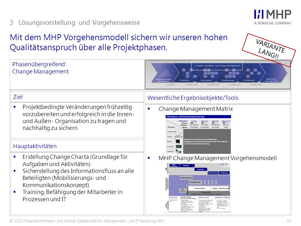 © 2012 Mieschke Hofmann und Partner Gesellschaft für Management- und IT-Beratung mbH36 Mit dem MHP Vorgehensmodell sichern wir unseren hohen Qualitäts