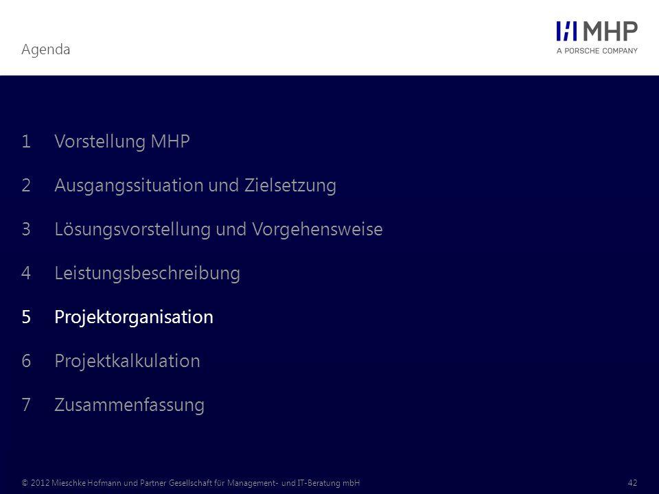 Agenda © 2012 Mieschke Hofmann und Partner Gesellschaft für Management- und IT-Beratung mbH42 1Vorstellung MHP 2Ausgangssituation und Zielsetzung 3Lös