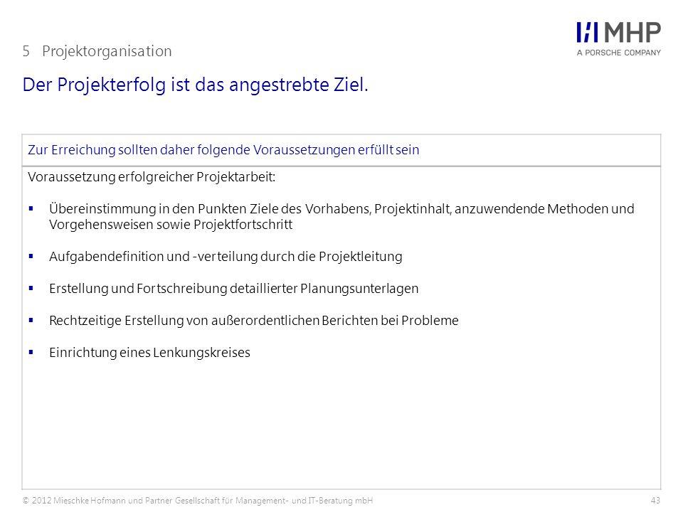 © 2012 Mieschke Hofmann und Partner Gesellschaft für Management- und IT-Beratung mbH43 Der Projekterfolg ist das angestrebte Ziel. 5Projektorganisatio