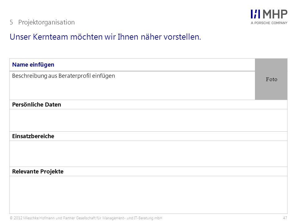 © 2012 Mieschke Hofmann und Partner Gesellschaft für Management- und IT-Beratung mbH47 Unser Kernteam möchten wir Ihnen näher vorstellen. 5Projektorga