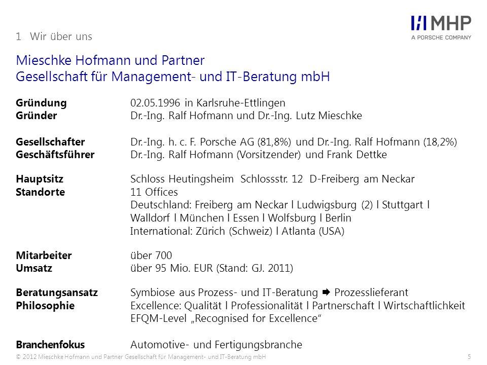 © 2012 Mieschke Hofmann und Partner Gesellschaft für Management- und IT-Beratung mbH56 Es gibt viele Gründe die für MHP sprechen.