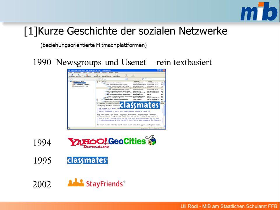 [1]Kurze Geschichte der sozialen Netzwerke (beziehungsorientierte Mitmachplattformen) 1994 1990 Newsgroups und Usenet – rein textbasiert 1995 2002