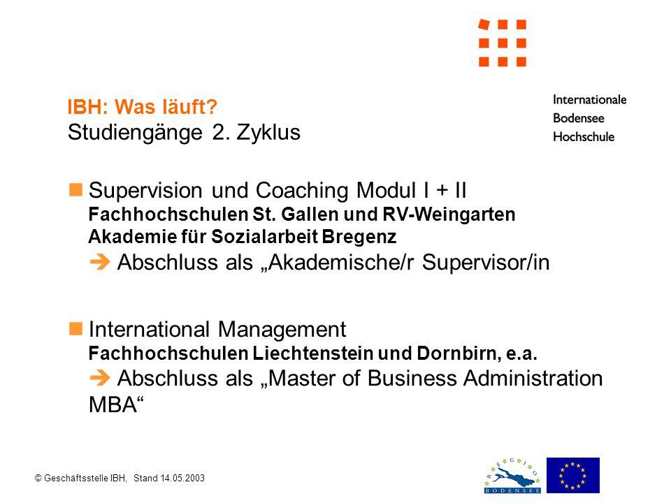 © Geschäftsstelle IBH, Stand 14.05.2003 IBH: Was läuft.