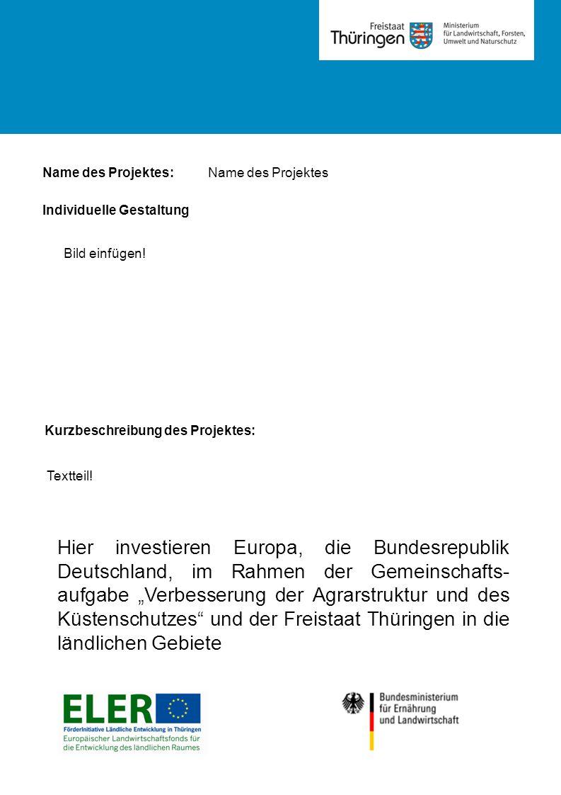 Name des Projektes: Kurzbeschreibung des Projektes: Textteil.
