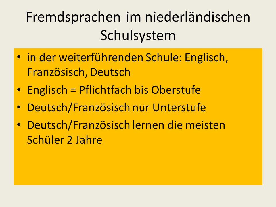 Fremdsprachen im niederländischen Schulsystem in der weiterführenden Schule: Englisch, Französisch, Deutsch Englisch = Pflichtfach bis Oberstufe Deutsch/Französisch nur Unterstufe Deutsch/Französisch lernen die meisten Schüler 2 Jahre