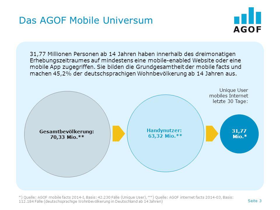 Seite 3 31,77 Millionen Personen ab 14 Jahren haben innerhalb des dreimonatigen Erhebungszeitraumes auf mindestens eine mobile-enabled Website oder ei