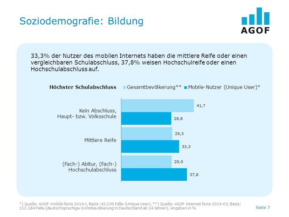 Seite 7 Soziodemografie: Bildung *) Quelle: AGOF mobile facts 2014-I, Basis: 42.230 Fälle (Unique User), **) Quelle: AGOF internet facts 2014-03, Basis: 112.184 Fälle (deutschsprachige Wohnbevölkerung in Deutschland ab 14 Jahren), Angaben in % Höchster Schulabschluss Kein Abschluss, Haupt- bzw.