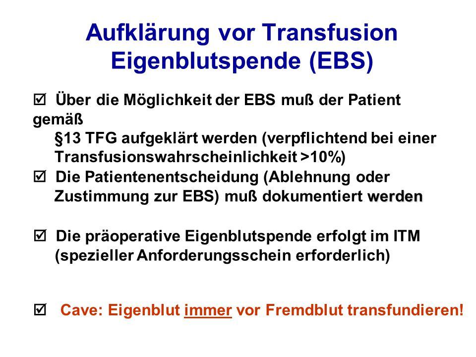 Aufklärung vor Transfusion Eigenblutspende (EBS)  Über die Möglichkeit der EBS muß der Patient gemäß §13 TFG aufgeklärt werden (verpflichtend bei einer Transfusionswahrscheinlichkeit >10%) werden  Die Patientenentscheidung (Ablehnung oder Zustimmung zur EBS) muß dokumentiert werden  Die präoperative Eigenblutspende erfolgt im ITM (spezieller Anforderungsschein erforderlich)  Cave: Eigenblut immer vor Fremdblut transfundieren!