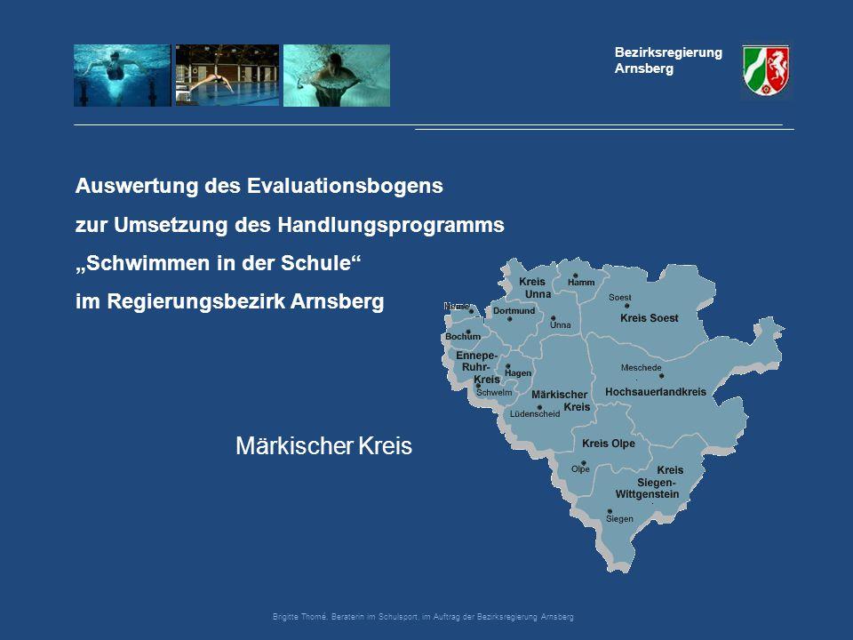 """Auswertung des Evaluationsbogens zur Umsetzung des Handlungsprogramms """"Schwimmen in der Schule"""" im Regierungsbezirk Arnsberg Bezirksregierung Arnsberg"""
