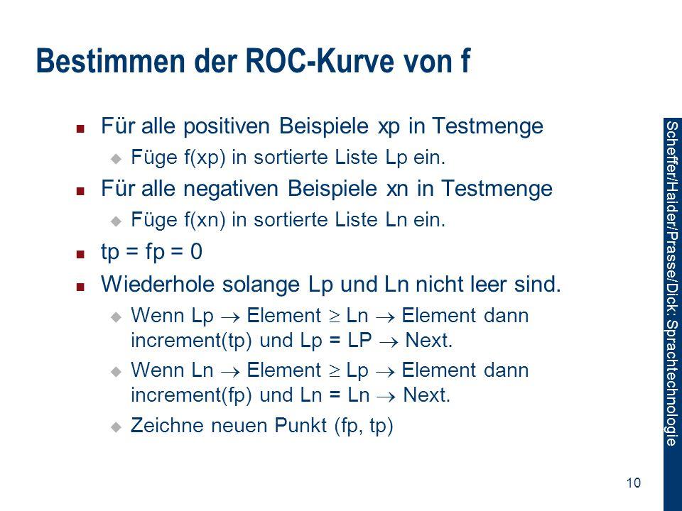Scheffer/Sawade: Sprachtechnologie Scheffer/Haider/Prasse/Dick: Sprachtechnologie 10 Bestimmen der ROC-Kurve von f Für alle positiven Beispiele xp in