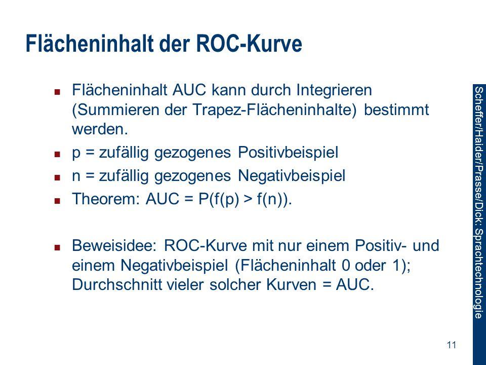 Scheffer/Sawade: Sprachtechnologie Scheffer/Haider/Prasse/Dick: Sprachtechnologie 11 Flächeninhalt der ROC-Kurve Flächeninhalt AUC kann durch Integrie