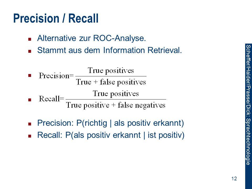 Scheffer/Sawade: Sprachtechnologie Scheffer/Haider/Prasse/Dick: Sprachtechnologie 12 Precision / Recall Alternative zur ROC-Analyse. Stammt aus dem In