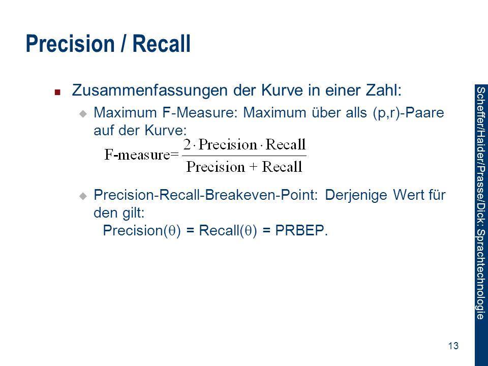 Scheffer/Sawade: Sprachtechnologie Scheffer/Haider/Prasse/Dick: Sprachtechnologie 13 Precision / Recall Zusammenfassungen der Kurve in einer Zahl:  M