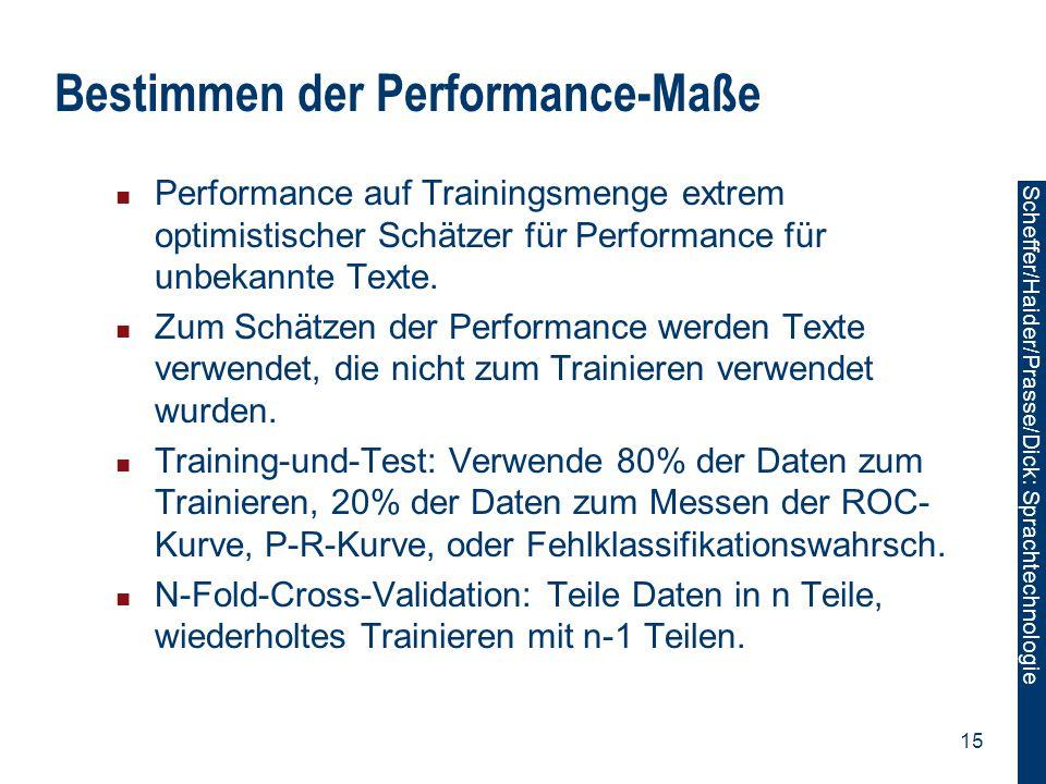 Scheffer/Sawade: Sprachtechnologie Scheffer/Haider/Prasse/Dick: Sprachtechnologie 15 Bestimmen der Performance-Maße Performance auf Trainingsmenge ext