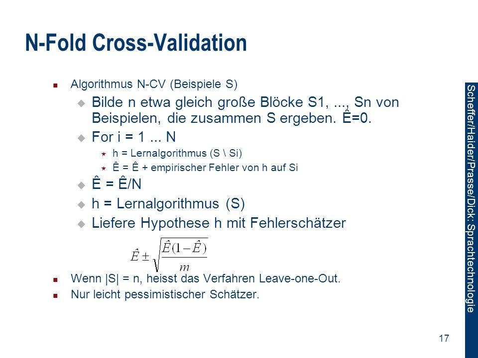 Scheffer/Sawade: Sprachtechnologie Scheffer/Haider/Prasse/Dick: Sprachtechnologie 17 N-Fold Cross-Validation Algorithmus N-CV (Beispiele S)  Bilde n