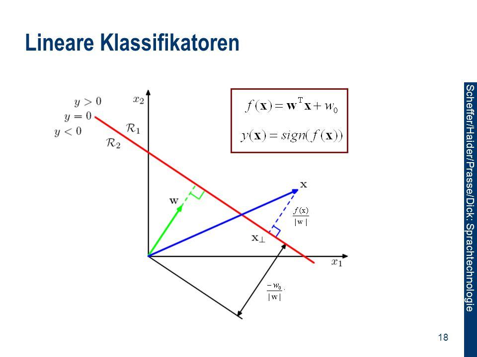 Scheffer/Sawade: Sprachtechnologie Scheffer/Haider/Prasse/Dick: Sprachtechnologie 18 Lineare Klassifikatoren