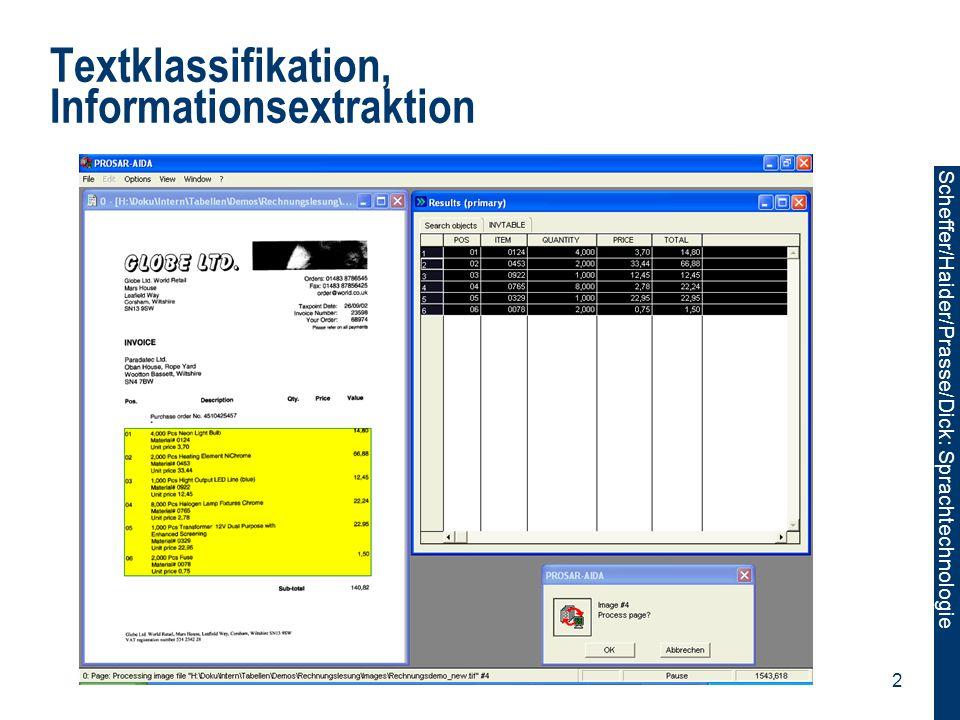 Scheffer/Sawade: Sprachtechnologie Scheffer/Haider/Prasse/Dick: Sprachtechnologie 3 Textklassifikation, Informationsextraktion Textklassifikator: Ordnet einen Text einer Menge von inhaltlichen Kategorien zu.