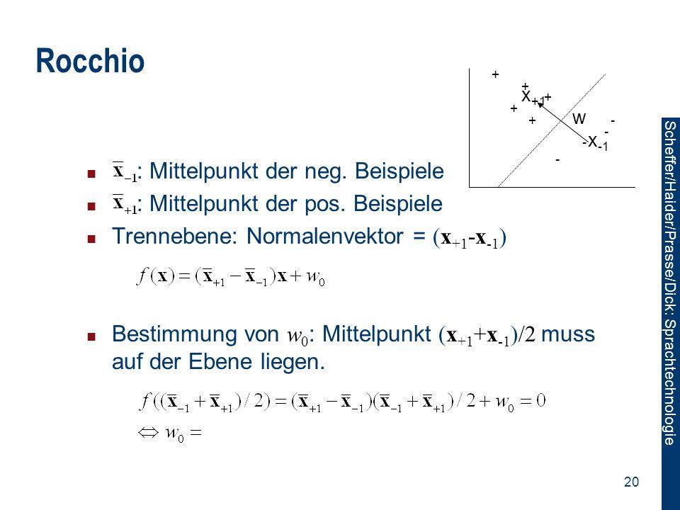 Scheffer/Sawade: Sprachtechnologie Scheffer/Haider/Prasse/Dick: Sprachtechnologie 20 Rocchio : Mittelpunkt der neg. Beispiele : Mittelpunkt der pos. B
