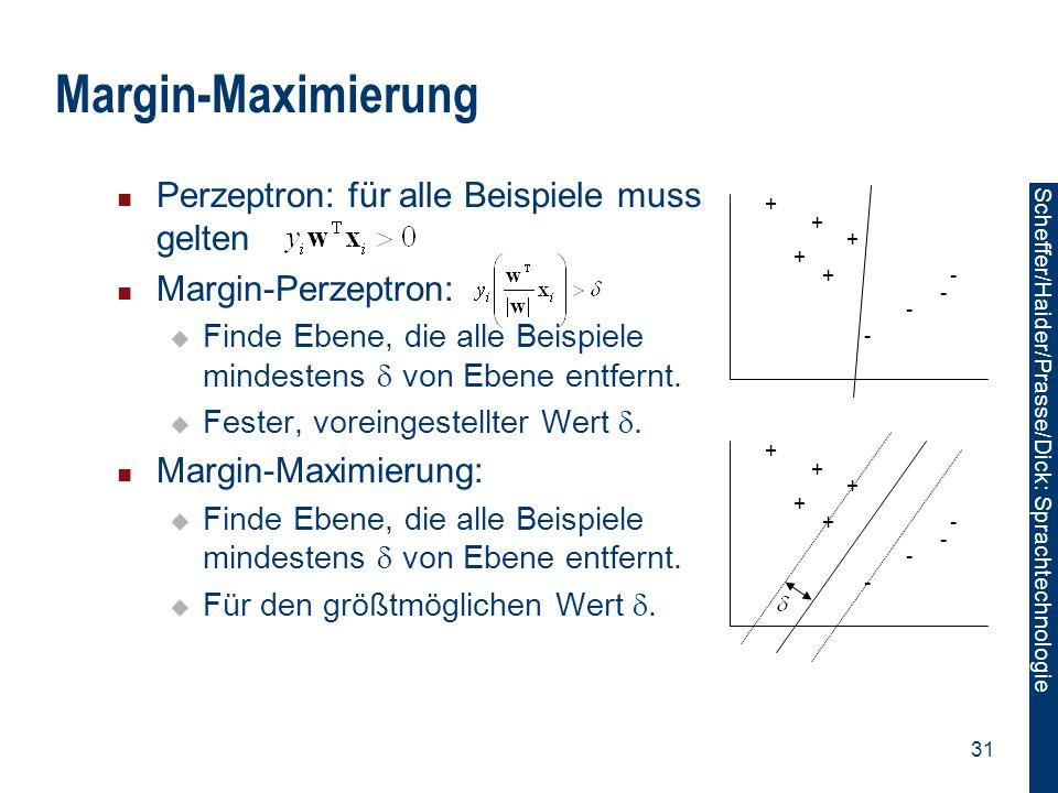 Scheffer/Sawade: Sprachtechnologie Scheffer/Haider/Prasse/Dick: Sprachtechnologie 31 Margin-Maximierung Perzeptron: für alle Beispiele muss gelten Mar
