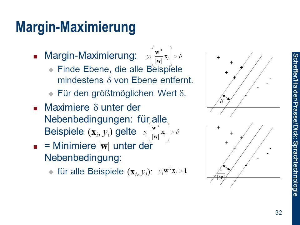 Scheffer/Sawade: Sprachtechnologie Scheffer/Haider/Prasse/Dick: Sprachtechnologie 32 Margin-Maximierung Margin-Maximierung:  Finde Ebene, die alle Be
