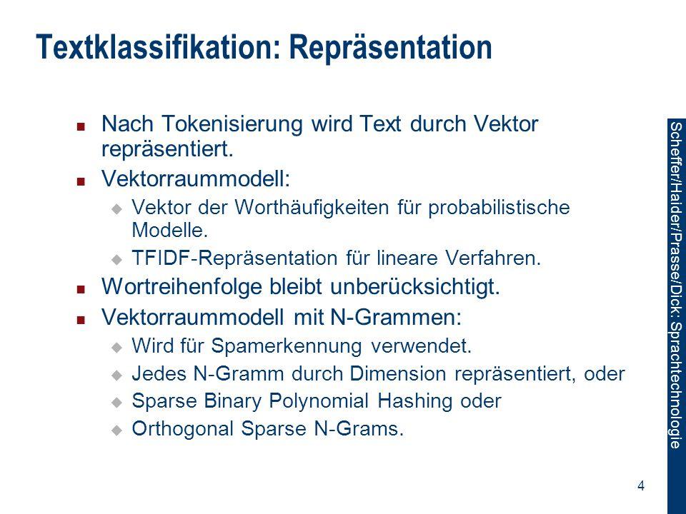 Scheffer/Sawade: Sprachtechnologie Scheffer/Haider/Prasse/Dick: Sprachtechnologie 55 Label-label: Label-Beobachtung: Gemeinsamer Merkmalsvektor  (x,y)=∑ t (…,φ 123 (y t,y t+1 ),…,φ 234 (x t,y t ),...) T Gewichtsvektor w=(…,w 123,…,w 234,…) T y1y1 y3y3 y4y4 y2y2 x1x1 x3x3 x2x2 x4x4 φ 123 (y t,y t+1 ) = [[y t = Noun y t+1 = Verb ]] φ 234 (x t,y t ) = [[y t = Noun x t = cat ]] ∑ t φ i (y t,y t+1 ).