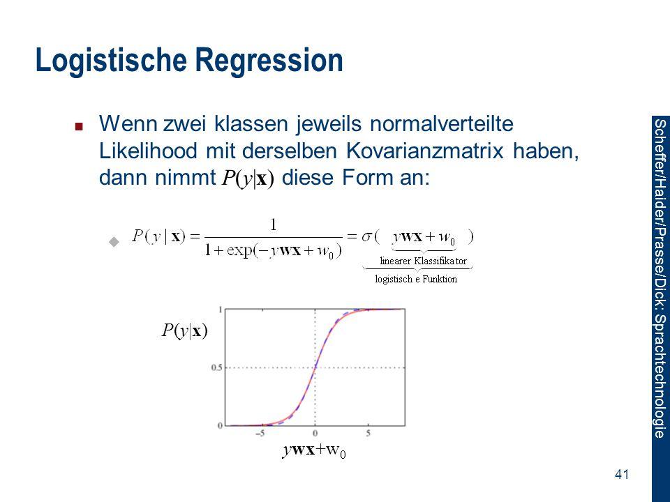 Scheffer/Sawade: Sprachtechnologie Scheffer/Haider/Prasse/Dick: Sprachtechnologie 41 Logistische Regression Wenn zwei klassen jeweils normalverteilte