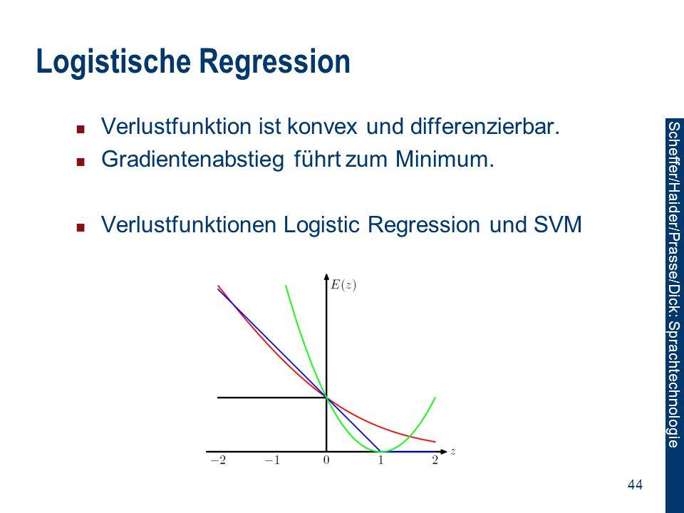 Scheffer/Sawade: Sprachtechnologie Scheffer/Haider/Prasse/Dick: Sprachtechnologie 44 Logistische Regression Verlustfunktion ist konvex und differenzie